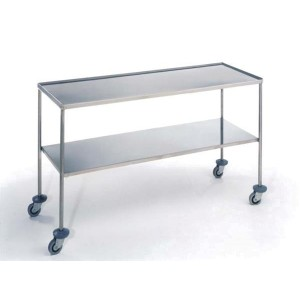 Mesa de instrumental recta 2 estantes (superior con rebordes) acero inoxidable 1000x500x800 mm