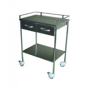 Mesa auxiliar 2 cajones, acero inoxidable